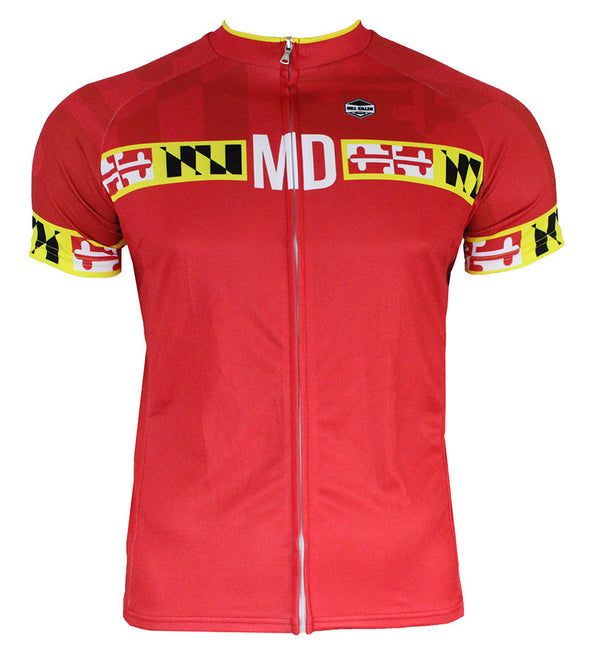 Maryland Banner Red Men's Club-Cut Cycling Jersey by Hill Killer