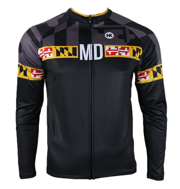 Maryland 'Blackout' Men's Thermal-Lined Cycling Jersey by Hill Killer