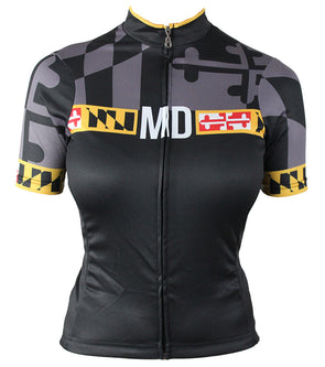 Maryland 'Blackout' Women's Club-Cut Cycling Jersey by Hill Killer