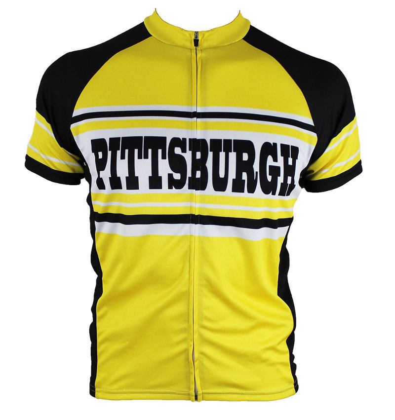 Pittsburgh Retro (Gold) Men's Cycling Jersey | Hill Killer Apparel