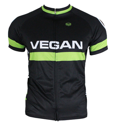 Retro Vegan (Black) Men's Club-Cut Cycling Jersey by Hill Killer