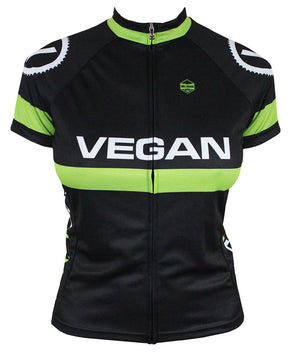 Retro Vegan (Black) Women's Club-Cut Cycling Jersey by Hill Killer