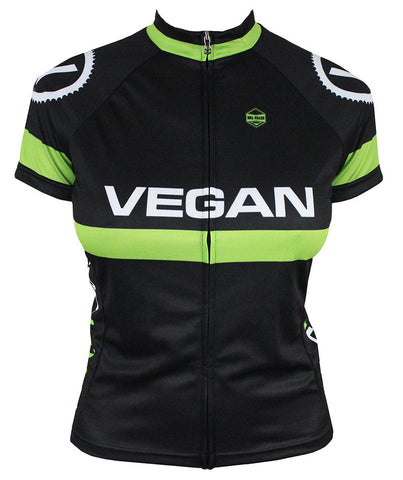 Retro Vegan (Black) Women's Cycling Jersey | Hill Killer Apparel