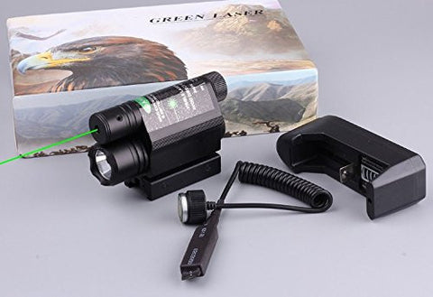 ACME Machine 2-in-1 Combo CREE 600lm 3mode Flashlight + Green Laser Sight Tactical For Gun Rifle Scope Pistol