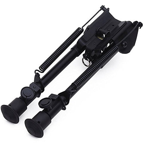 "Tactical Black Spring Loaded Folding Bipod, Rubber Feet, Center Height 8.3"" Expands to 12.7"" by ACME Machine"