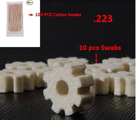 Combo Of Lug Recess and Barrel Extension Swabs for .223 10 Pcs And 100pc Gun Cleaning 6 Inch Cotton Swabs Cotton Stick by golden Eye