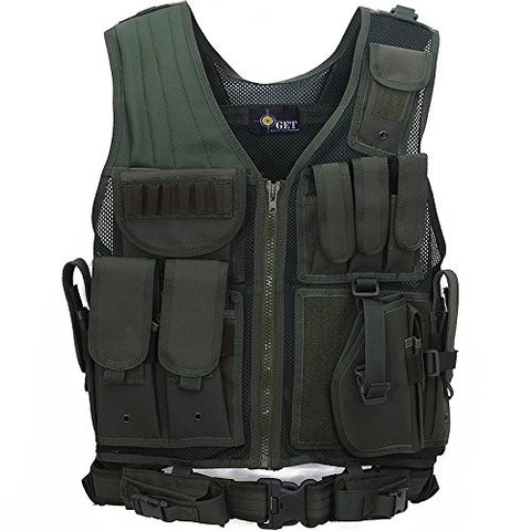ACME Machine Military Combat Assault Outer Army Protection Vest with Belt Safety Vest w/Right Hand Pistol Holster (Green)