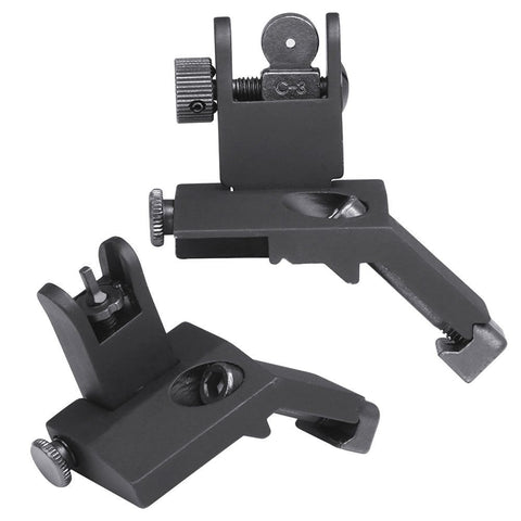 Front and Rear Flip Up 45 Degree Rapid Transition BUIS Backup Iron Sights