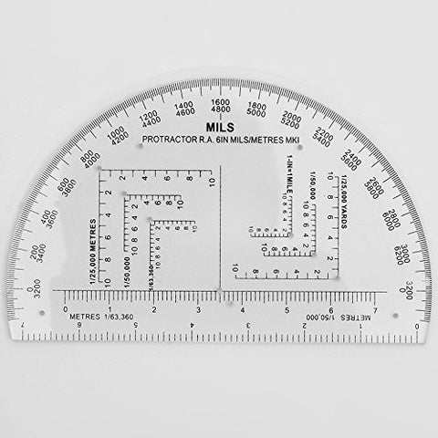 6IN Protractor Degrees/Mils/Metres/Yards by ACME Machine