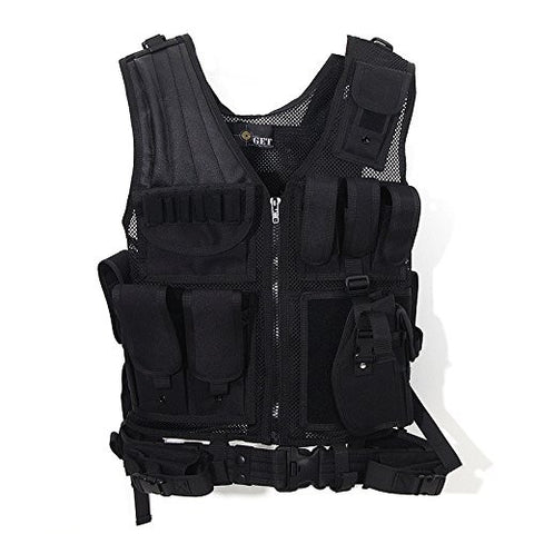 ACME Machine Military Combat Assault Outer Army Protection Vest Outdoor Game Vest Swat Army Tactical Vest with Belt Safety Vest w/Right Hand Pistol Holster (Black)