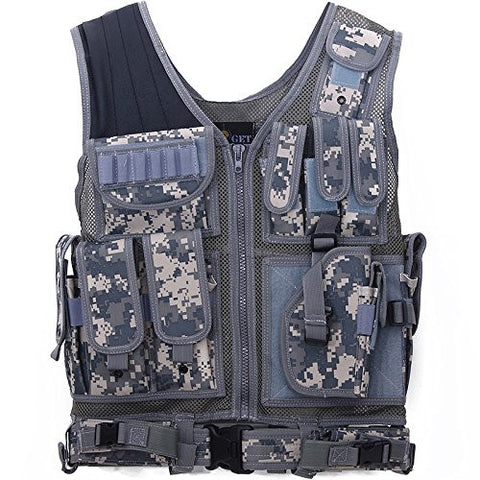 ACME Machine Military Combat Assault Outer Tactical Army Protection Vest with Belt Safety Vest w/Right Hand Pistol Holster (ACU)