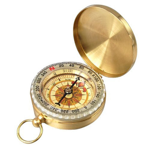 Baloray Camping Hiking Portable Pocket Watch Flip-open Compass Outdoor Navigation Tools Pocket Style Compass Gold