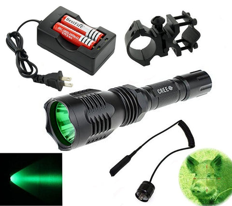 Green 350 Lumens Cree led Tactical Flashlight 250 Yard for Coyote Hog Hunting with Pressure Switch Barrel Mount