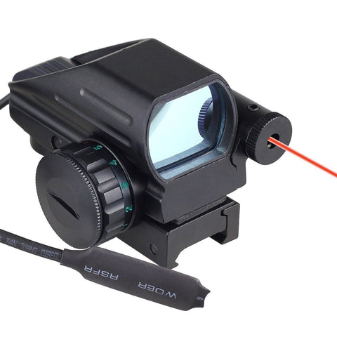 Holographic Laser Sight Scope Reflex 4 Red Green Dot Reticle w/ Pressure Switch