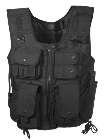 S.W.A.T Style Tactical Vest in Black Crossdraw Holster Mag Pouches Police