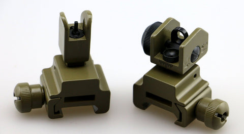 Dark Earth / Tan Tactical Flip Up Front and Rear Iron Sights Set - FDE
