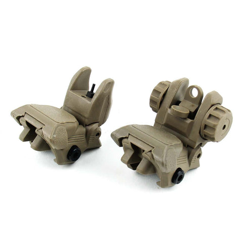 Tactical Folding Polymer Sight Tower Set Front and Rear BUIS Combo FDE