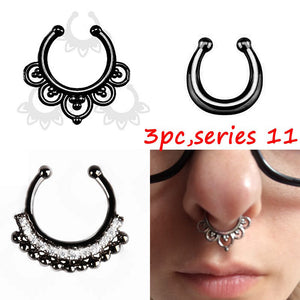 3 Piece Fake Septum Nose Rings Set - More than 10 designs - Fantasy Jewelry Online