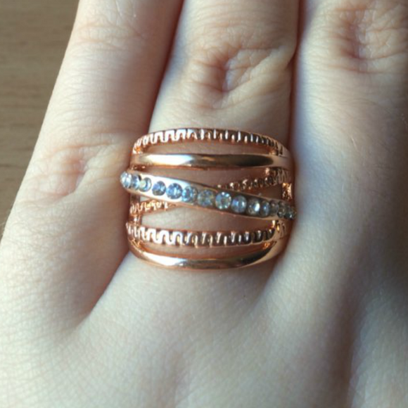 Luxury 18k Rose Gold Plated Orbital Ring - Fantasy Jewelry Online