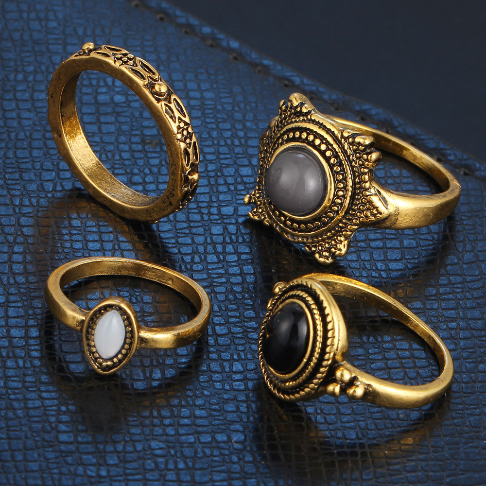 4 Piece Bohemian Vintage Rings Set - Fantasy Jewelry Online