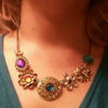 Vintage Flower and Gem Pendant Necklace - Fantasy Jewelry Online