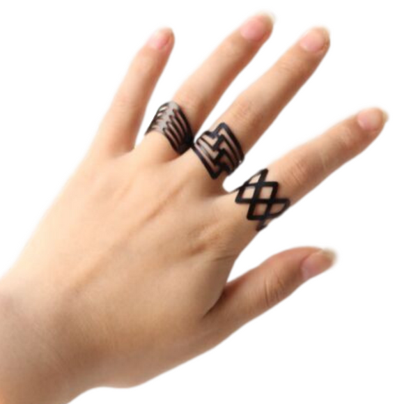 3 Piece Black Geometric Rings Set