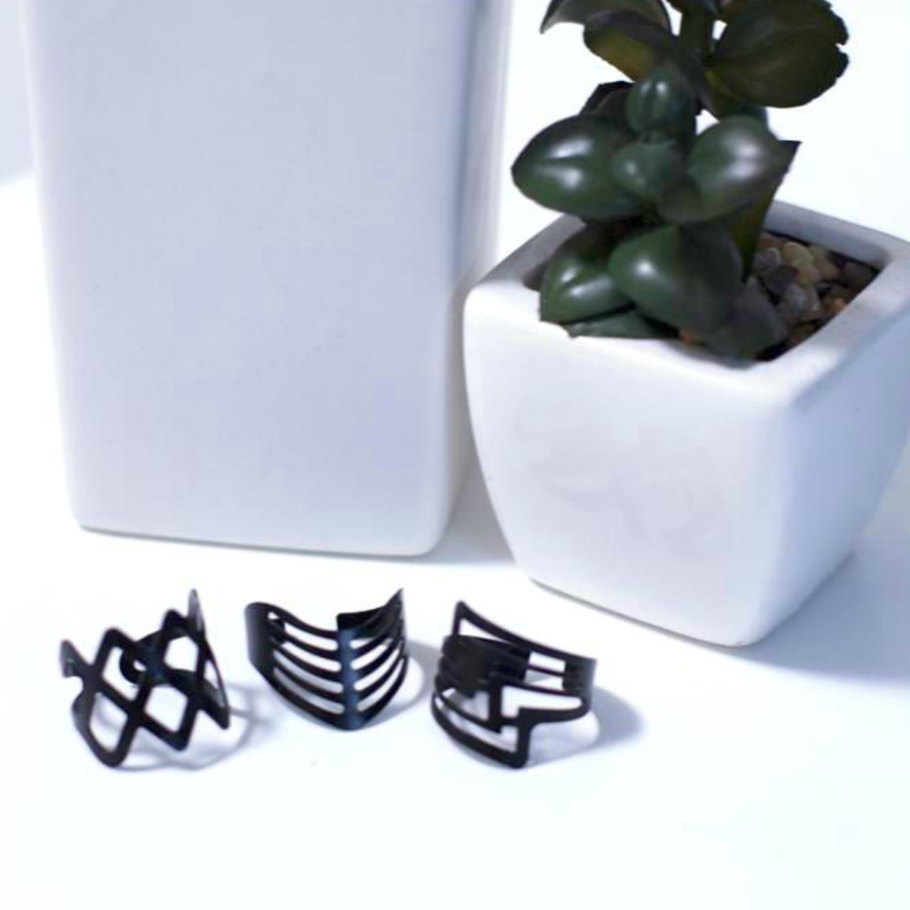 3 Piece Black Geometric Rings Set - Fantasy Jewelry Online