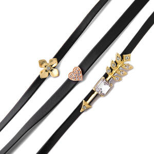 3 Piece Crystal Heart Flower Arrow Choker Necklace Set - Fantasy Jewelry Online