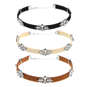 3 Piece Filigree Velvet Choker Set - Fantasy Jewelry Online