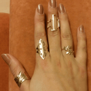 4 Piece Geometric Leaf Rings Set - Fantasy Jewelry Online