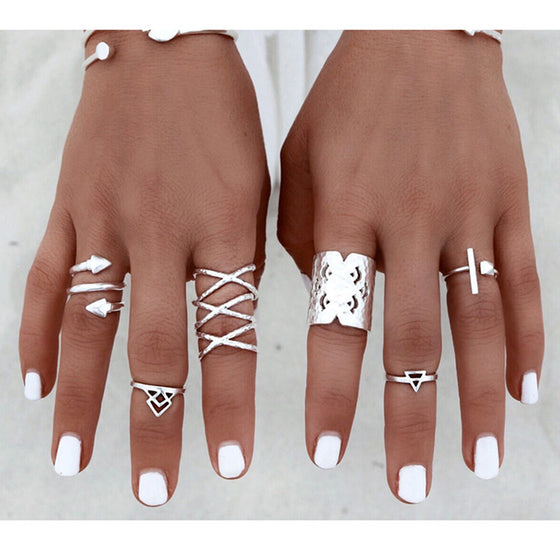 6 piece Bohemian Arrow Rings Set