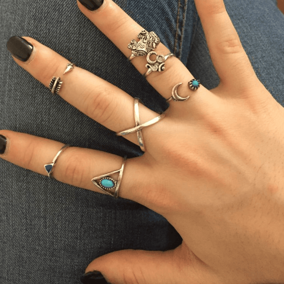 7 Piece Elephant Moon Arrow Rings Set