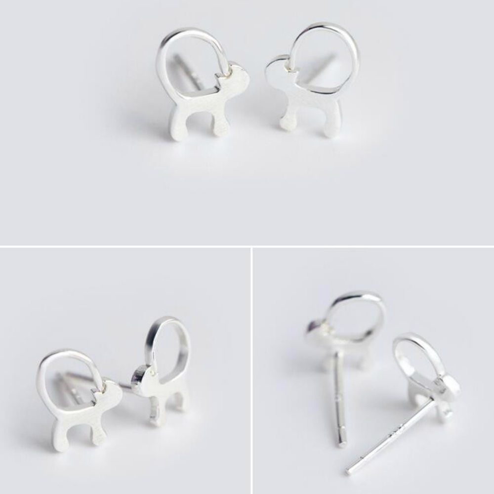 925 Sterling Silver Long Tail Cat Stud Earrings