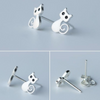 925 Sterling Silver Cute Cat Stud Earrings - Fantasy Jewelry Online