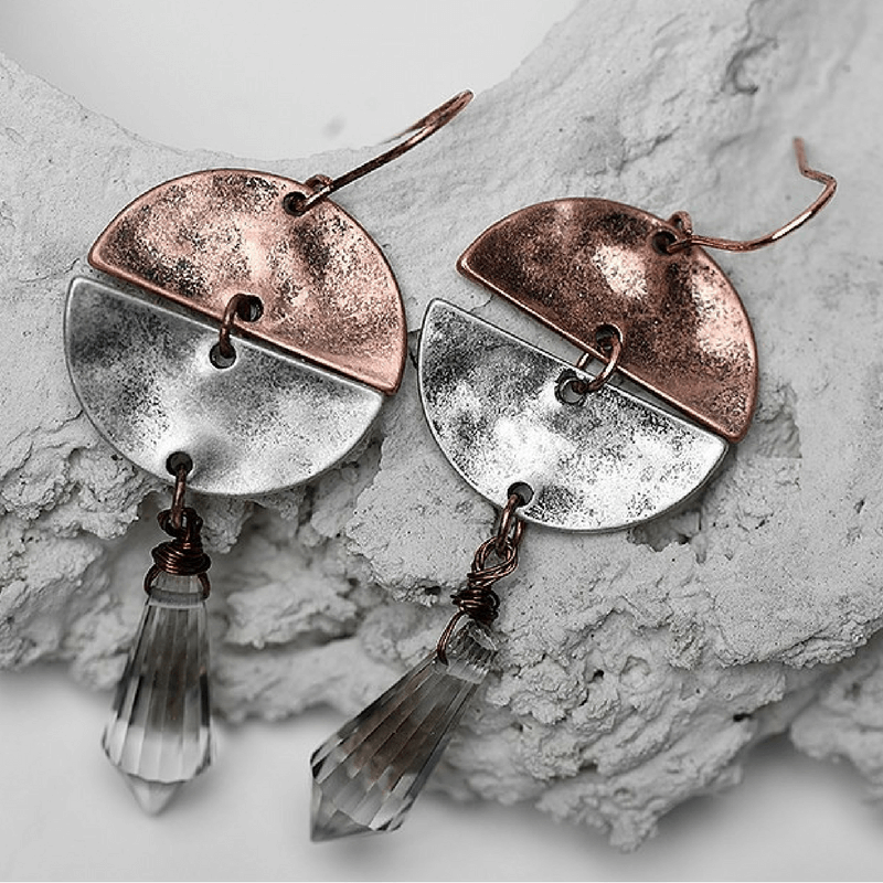 Antique Copper Silver Plated Drop Earrings