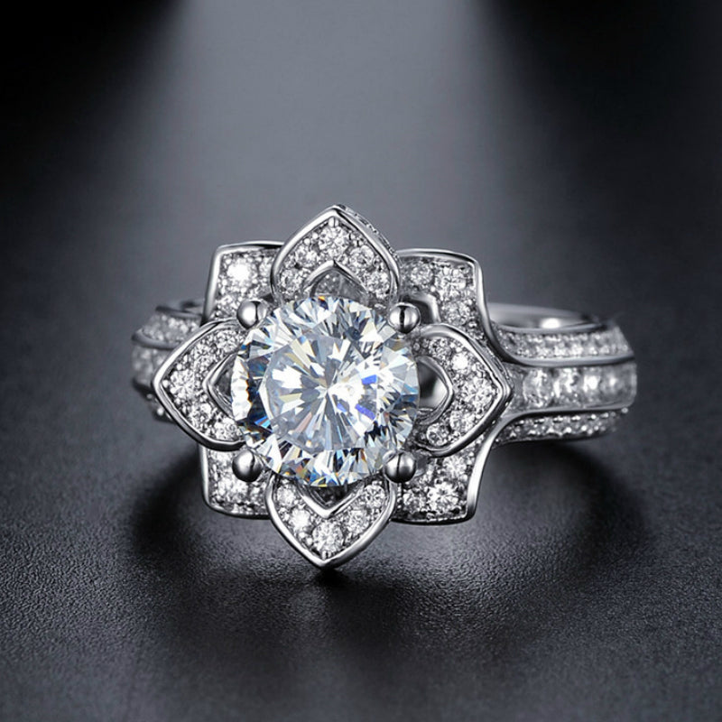 April Birthstone Diamond Ethereal Floral Princess Ring - Fantasy Jewelry Online
