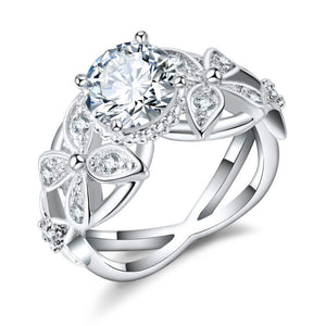 April Birthstone Diamond Filigree Floral Princess Ring - Fantasy Jewelry Online