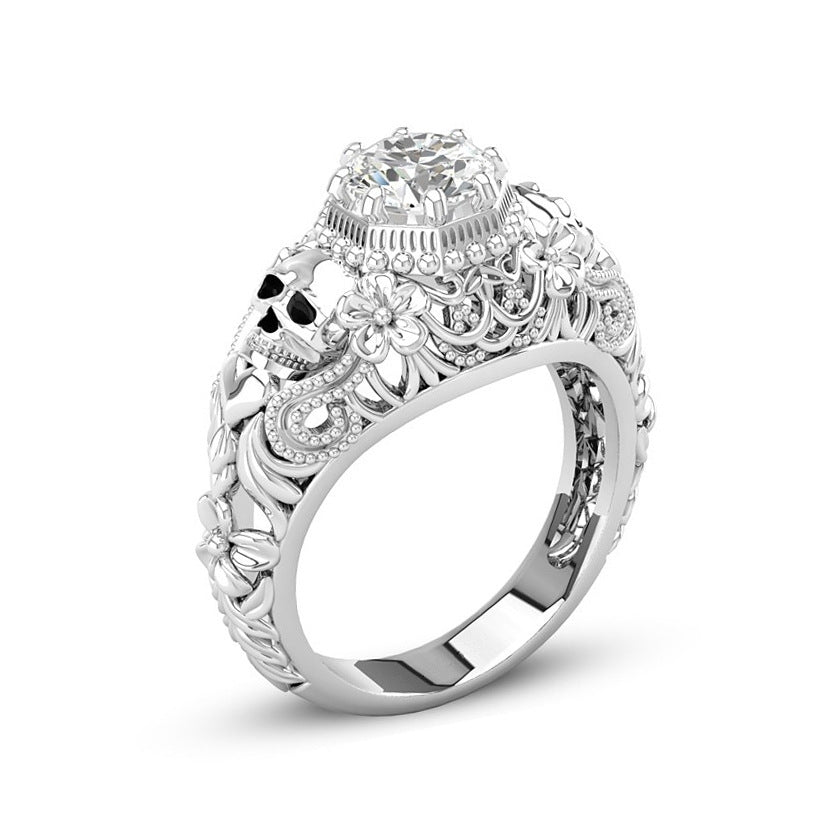April Birthstone Diamond Floral Skull Princess Ring - Fantasy Jewelry Online