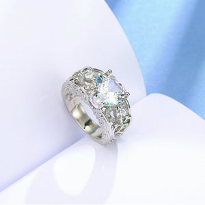 April Birthstone Diamond Heart Angel Wing Ring - Fantasy Jewelry Online