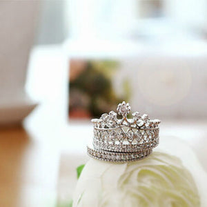 April Birthstone Imperial Crown Diamond Ring Set - Fantasy Jewelry Online