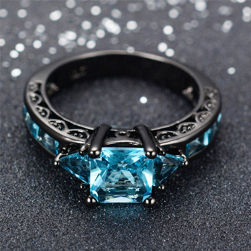 March Birthstone Aquamarine Black Gold Filled Princess Ring