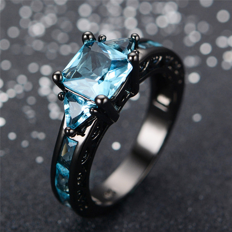 March Birthstone Aquamarine Black Gold Filled Princess Ring - Fantasy Jewelry Online