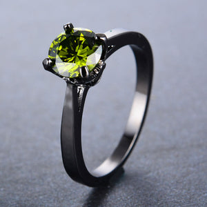 August Birthstone Peridot Solitaire Black Gold Filled Princess Ring - Fantasy Jewelry Online