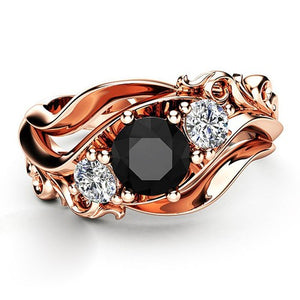 Black Cubic Zirconia Rose Gold Floral Ring - Fantasy Jewelry Online