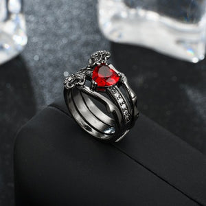 Black Roses Ruby Heart Princess Black Gold Ring Set - Fantasy Jewelry Online