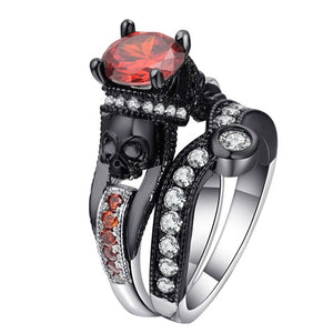 Black Skull Princess Ring Set - Fantasy Jewelry Online