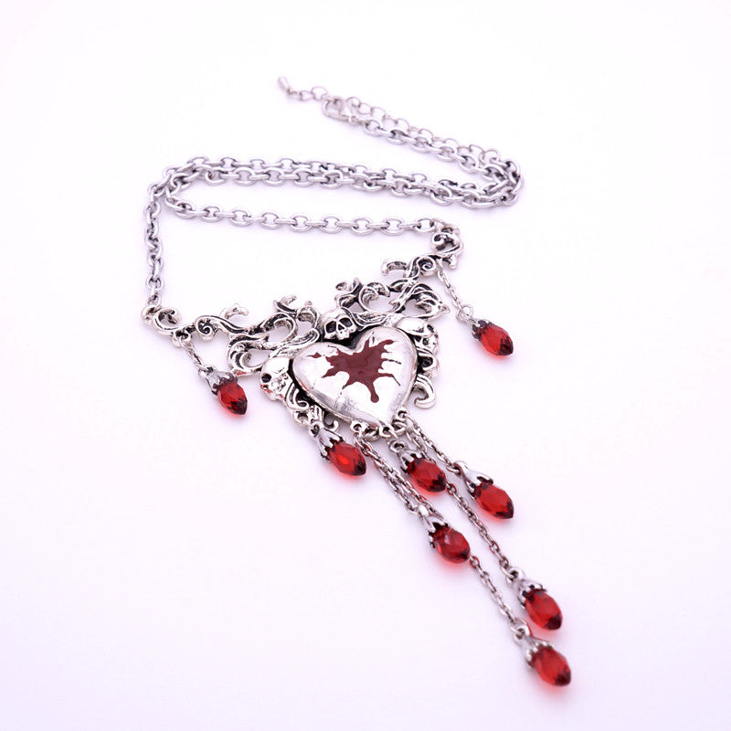Bleeding Heart Tassel Necklace - Fantasy Jewelry Online