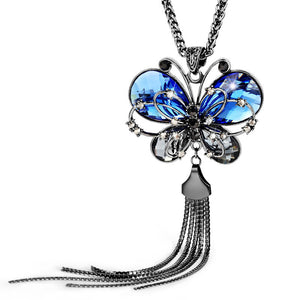 Blue Crystal Butterfly Necklace - Fantasy Jewelry Online