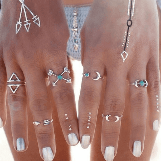 Bohemian Arrows Moon Lucky Rings Set - Fantasy Jewelry Online