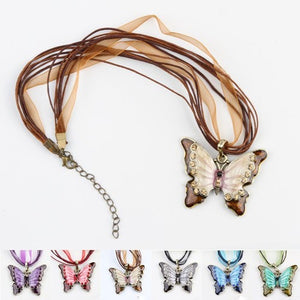 Charming Retro Butterfly Necklace - Fantasy Jewelry Online